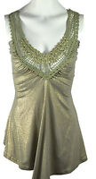 Ladies Womens Metallic V Neck Top New Style Lace UK Size 8-14