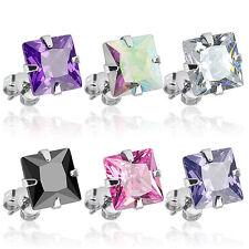 PAIR 316L Surgical Steel Square CZ Gem Stud Earrings, choose color and gem size