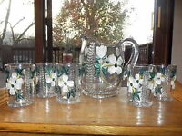 Antique Water Pitcher & tumblers Eapg Glass enamel paneled dogwood fern central
