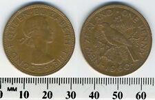 New Zealand 1960 - 1 Penny Bronze Coin - Queen Elizabeth II - Tui Bird