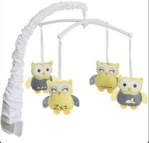 HALO Baby BassiNest Swivel Sleeper MOBILE (GRAY OWLS) Newborn Toy Crib Decor-NEW