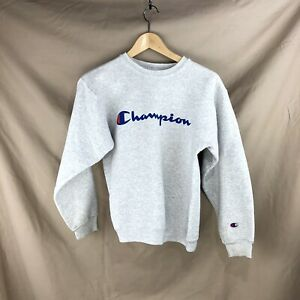VTG Champion Logo Spell Out YouthXL Gray Essential Crew Neck Pullover Sweatshirt