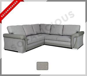 CORNER SOFA BED VIGO Grey Fabric Formal Back Cushions with Storage