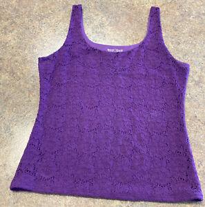 White House Black Market Women Purple Lined Floral Lace Stretch Tank Top Size M