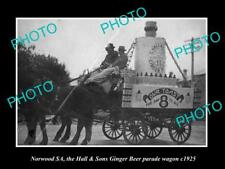 OLD LARGE HISTORIC PHOTO OF NORWOOD ADELAIDE, HALL & SONS GINGER BEER WAGON 1925
