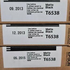3x Epson T6538 Matte Black Tintenpatronen 200ml für Stylus Pro 4900