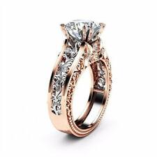 CZ Rose Gold Plated Color Leaf Crystal Fashion Fake Engagement Wedding Gift Ring