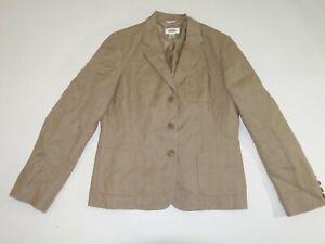 Talbots Women's 100% Irish Linen 3 Button Blazer Jacket Size 10 Beige Lined