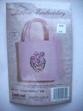 Silk ribbon embroidery cross stitch  kit mini Purple Daisies tote