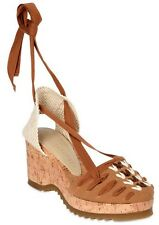 Stella McCartney Cork Wedge Tan Embroidered Lace Up Espadrille Sandals 40 / 10