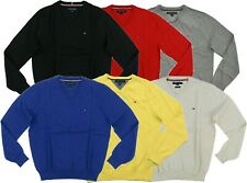 Tommy Hilfiger Mens Sweater Pullover V-Neck Casual Outerwear Solid Argyle Nwt Th