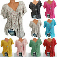 Womens V Neck Floral Tee T-shirts Short Sleeve Blouse Loose Plus Tops Tunic B2A5