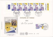 Enveloppe grand format 1er jour 1991 Journée du timbre Le tri postal