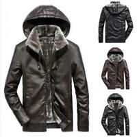 Mens Hooded Faux Fur Lined Jacket Faux Leather Windproof Warm Winter Coat Size L