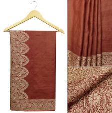 Vintage Saree Ethnic 100% Pure Silk Woven Brown Craft Fabric Indian Sari 5 Yard