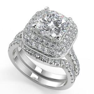1.9 Ct Cushion Cut Double Halo Pave Diamond Engagement Ring Set VS2 D White Gold