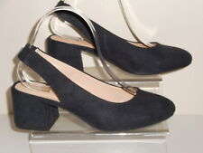 Navy Blue Faux Suede Sling Back Court Shoes Size UK 6 Wide Fit EEE BNIB Evans