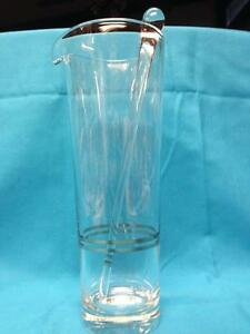 Beautiful Martini Pitcher with Glass Stirrer and Platinum Trim