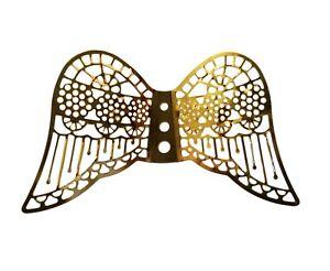"""12 pcs Miniature 2-3/8"""" Gold Metal Filigree Angel Wings Ornaments Crafts Dolls"""