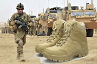 Men's Military Tactical Boots Hiking Combat Shoes Army Work Waterproof Side-Zip