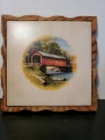 Vintage 1980s Covered Bridge Wood Frame Ceramic Tile Trivet Hotpad Wall Hanging