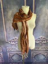 Joy Susan Textured Bronze Boho Braided Edge Scarf Multi Colored Open Weave Visco