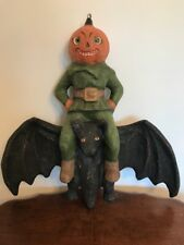 Bethany Lowe Halloween Large Pumpkin Head on a Bat—Retired!
