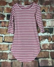 Heart And Hips Women's Medium Pastel Pink And White Striped 3/4 Sleeve Dress
