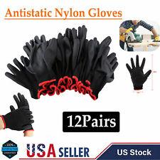 12 Pairs Nylon Pu Coating Safety Work Gloves Builders Mechanic Palm Black M Size
