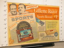 newspaper ad 1956 Gillette Great Moments 33 1/3 LP Babe Ruth Lou Gehrig baseball