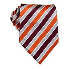 Brown Gray Orange Striped 100% Silk Jacquard Classic Woven Man's Tie Necktie F15