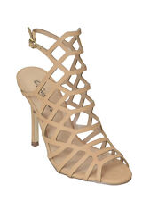 New Womens Caged Peep Toe Sandals Heels Slingback Natural Size 9