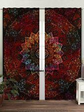 Bohemian Dorm Decor Mandala Tapestry Indian Curtains Wall Panel 2 PC Curtains