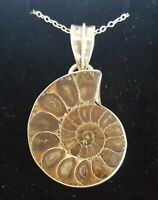Sterling silver & carved ammonite fossil vintage Art Deco antique pendant A
