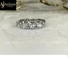 5Stones Moissanite 3.00 Ct Wedding Anniversary Band Ring 14k White Gold Over