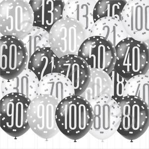 Black Silver Birthday Balloons 16th 18th 21st 30th 40th Birthday Decorations x 6