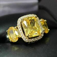 2.5 Ct Princess Citrine Halo Ring Women Wedding Jewelry 14K White Gold Plated