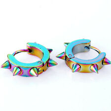 Pair Men Women Stainless Steel Hoop Spike Circle Huggie Studs Earrings Punk Cool