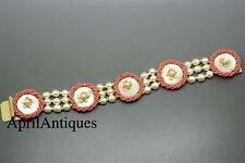 Vintage Miriam Haskell baroque pearls coral red beaded flower bracelet
