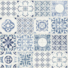 Grandeco Wallpaper - Luxury Porto Tile - Moroccan Tile Design - Blue - A22903