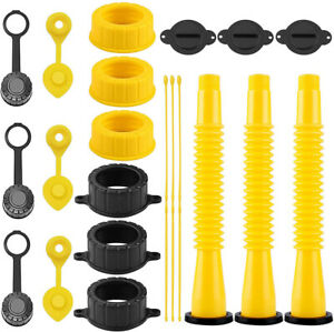 Gas Can Spout Replacement Kit Supplies with Screw Collar Caps Vent Caps Stopper