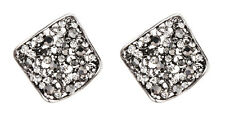 CLIP ON EARRINGS -  antique silver earring with clear & grey crystals - Kamali