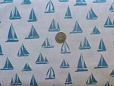 100% Cotton Fabric - Benartex   - Teal Sailboats on White  By The Yard