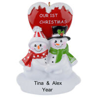 MAXORA Our 1st Christmas Snowman Couple Personalized Ornament  With Gift Box