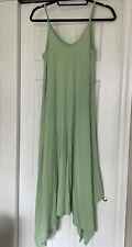 Garnet Hill Light Green Cotton Blend Spaghetti Strap Long Maxi Swing Sun Dress S