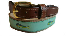 Mens Embroidered Leather Canvas Ribbon Fishing Belt > Mahi Mahi Dolphin NWT
