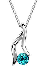 Amazing Crystal Blue Angel Hand Crystal Pendant Silver Chain Necklace N168