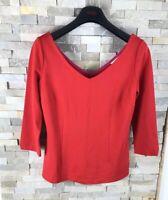 Boden Ladies Size UK 12 Red Plunging V Neck 3/4 Sleeved Top