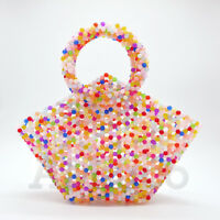 Womens Handband 100% Handmade Beaded Bag Crystal Cute Rainbow Basket Clutch Bag