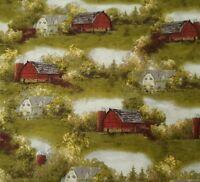 Red Barns BTY Hautman VIP Cranston Farmhouse Green Trees 100% Cotton Scenic